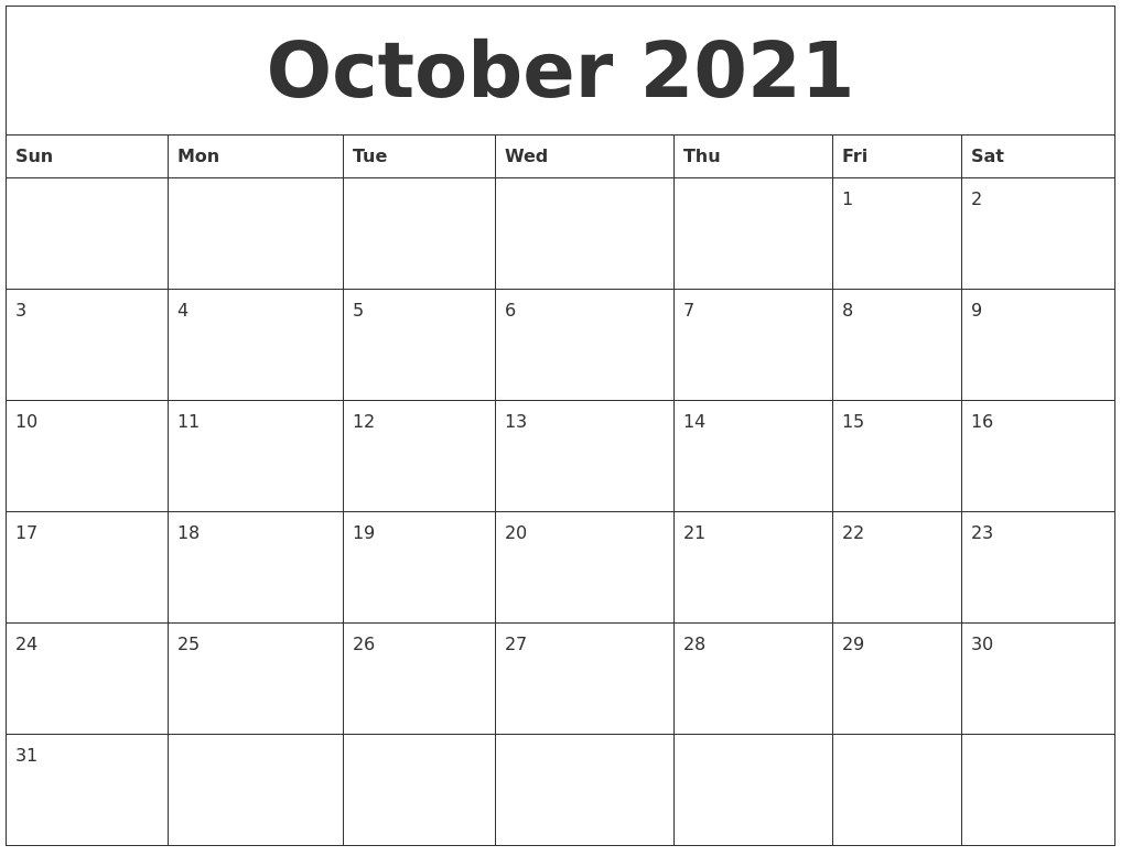 October 2021 Printable Daily Calendar