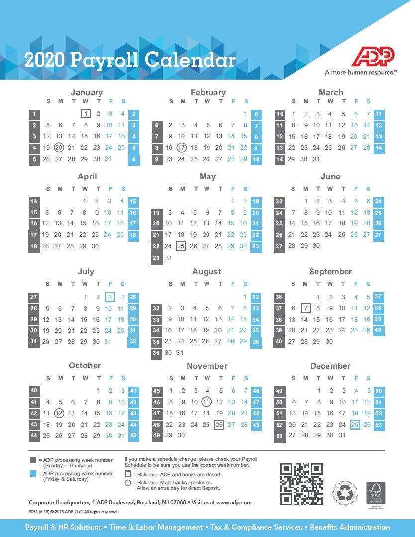 Payroll Calendar Printable For 2020
