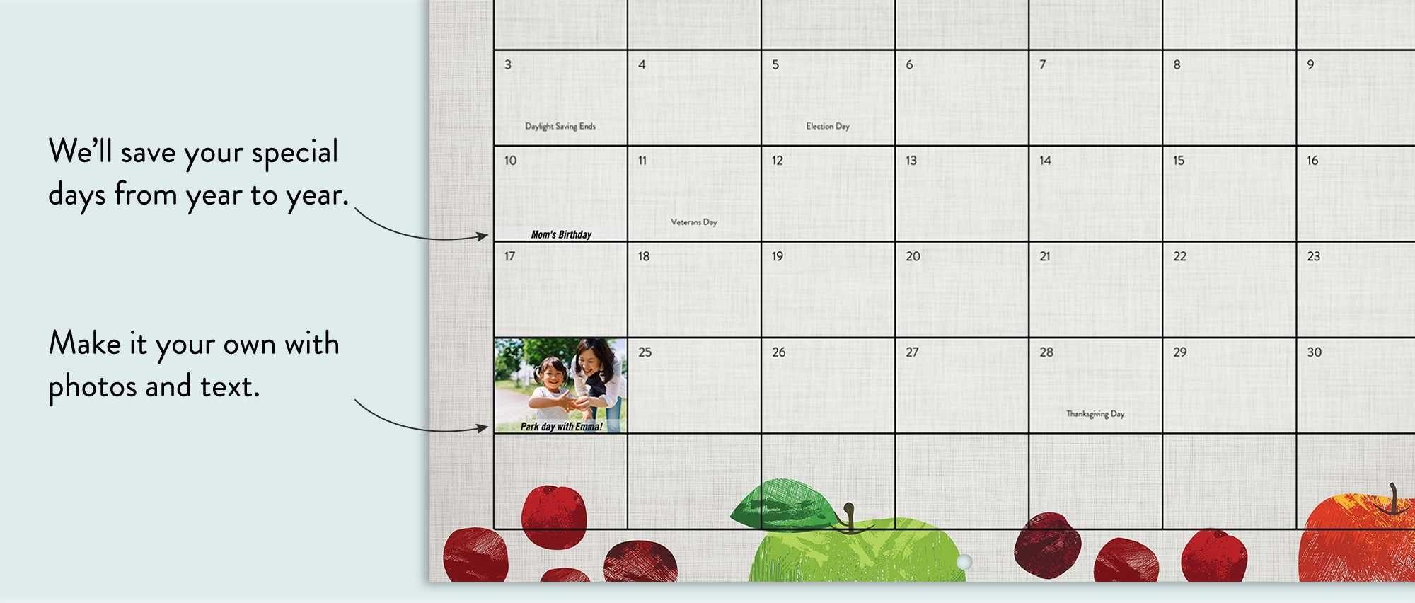 Premium Stationery Wall Calendar, 9X12