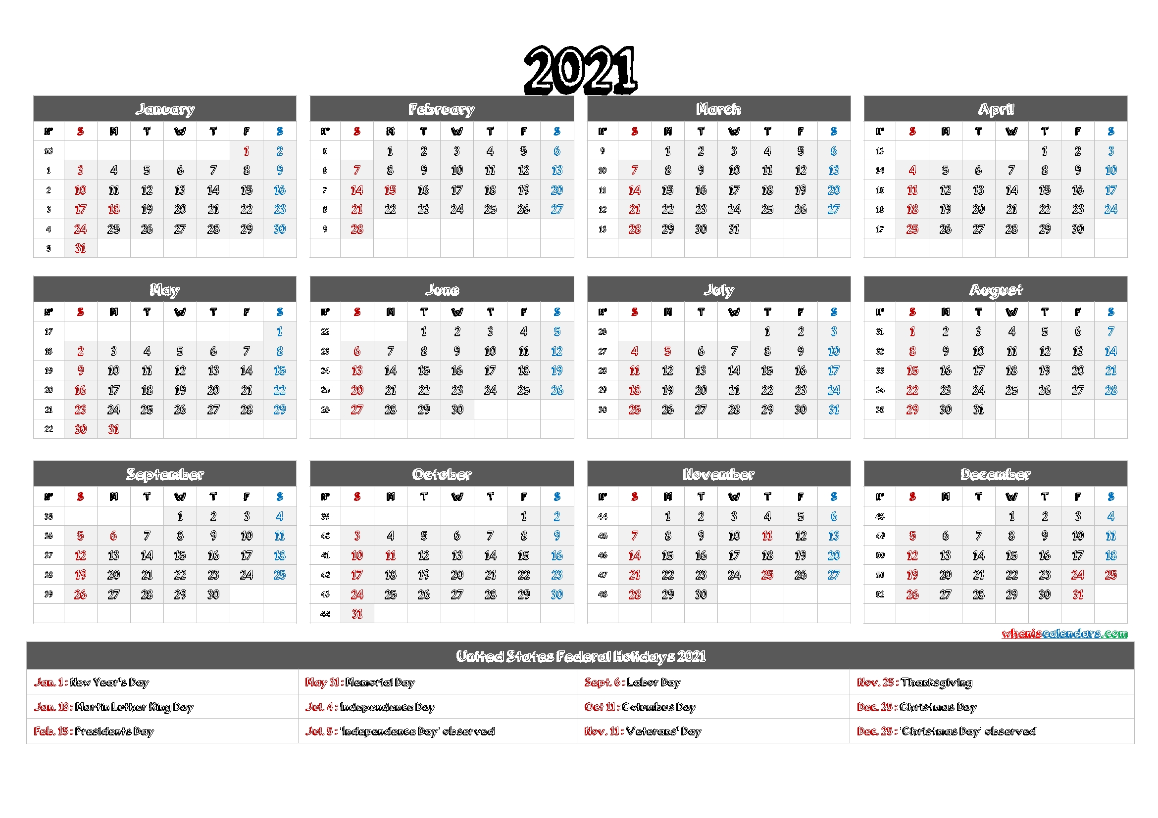 Printable 12 Month Calendar On One Page 2021 – 12 Templates