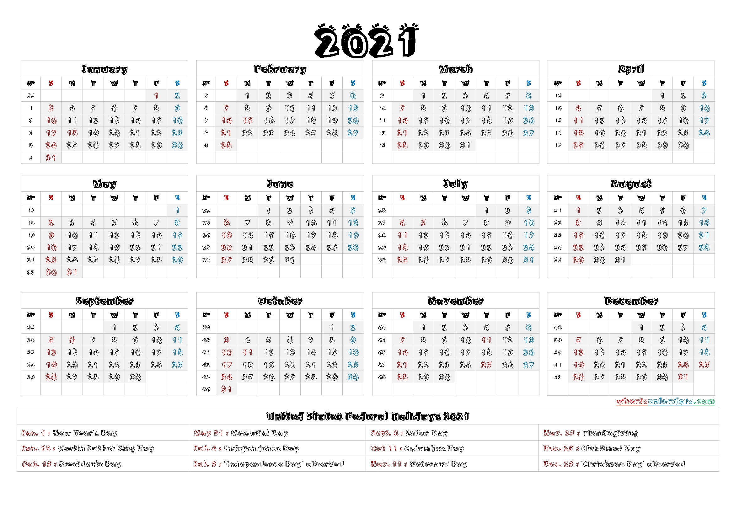 Printable 2021 Calendar With Holidays – 6 Templates – Free
