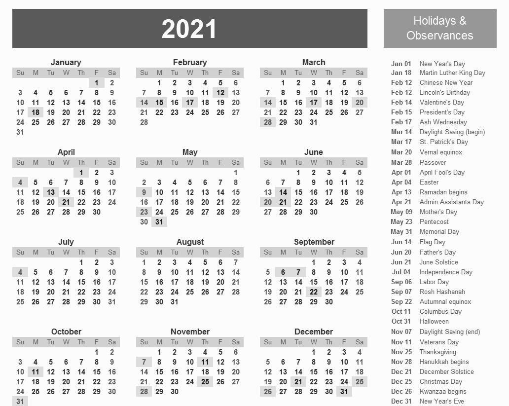 Printable 2021 Calendar With Holidays In 2020   Calendar