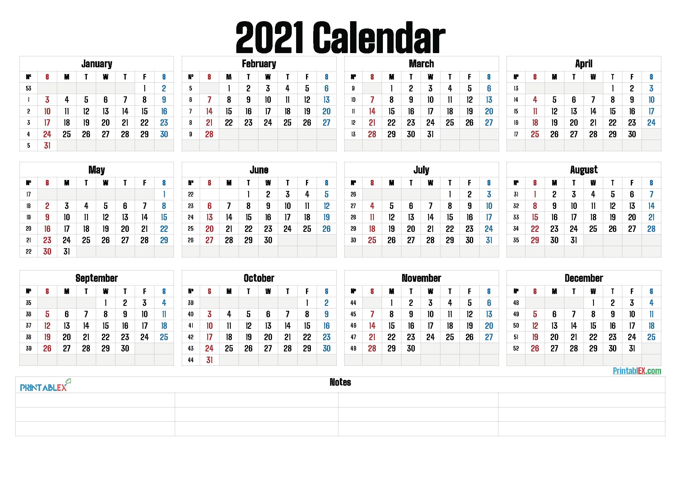 Printable 2021 Yearly Calendar With Week Numbers – 21Ytw161