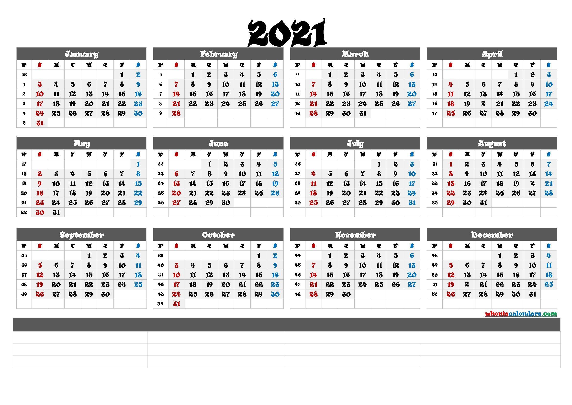 Printable 2021 Yearly Calendar With Week Numbers (6