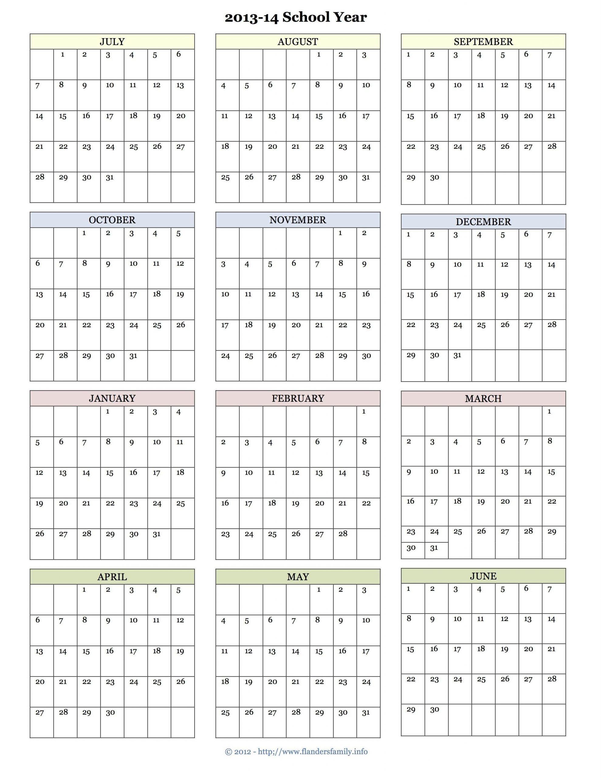 Printable Academic Calendar The Flanders Family Website