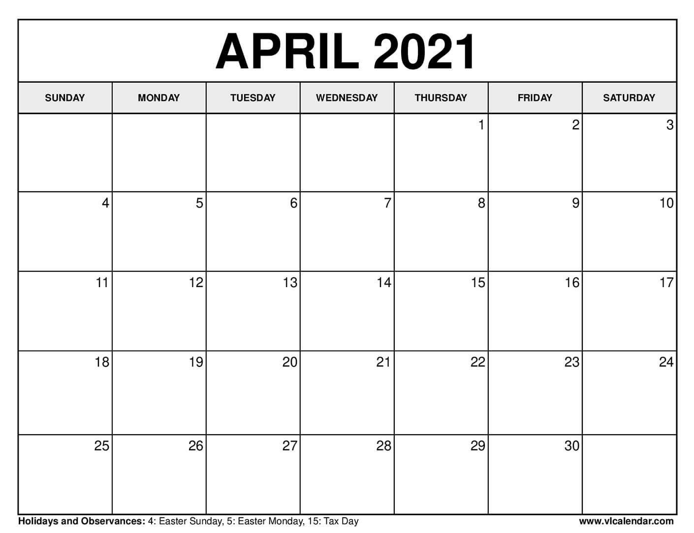 Printable April 2021 Calendars