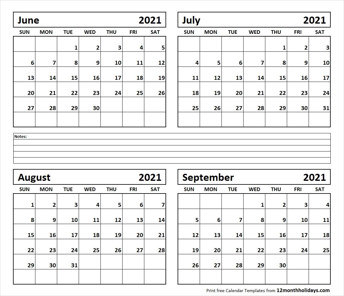 Printable Blank Four Month June July August September 2021