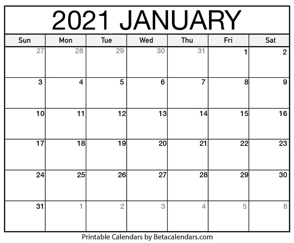 Printable Calendar 2021   Download & Print Free Blank Calendars
