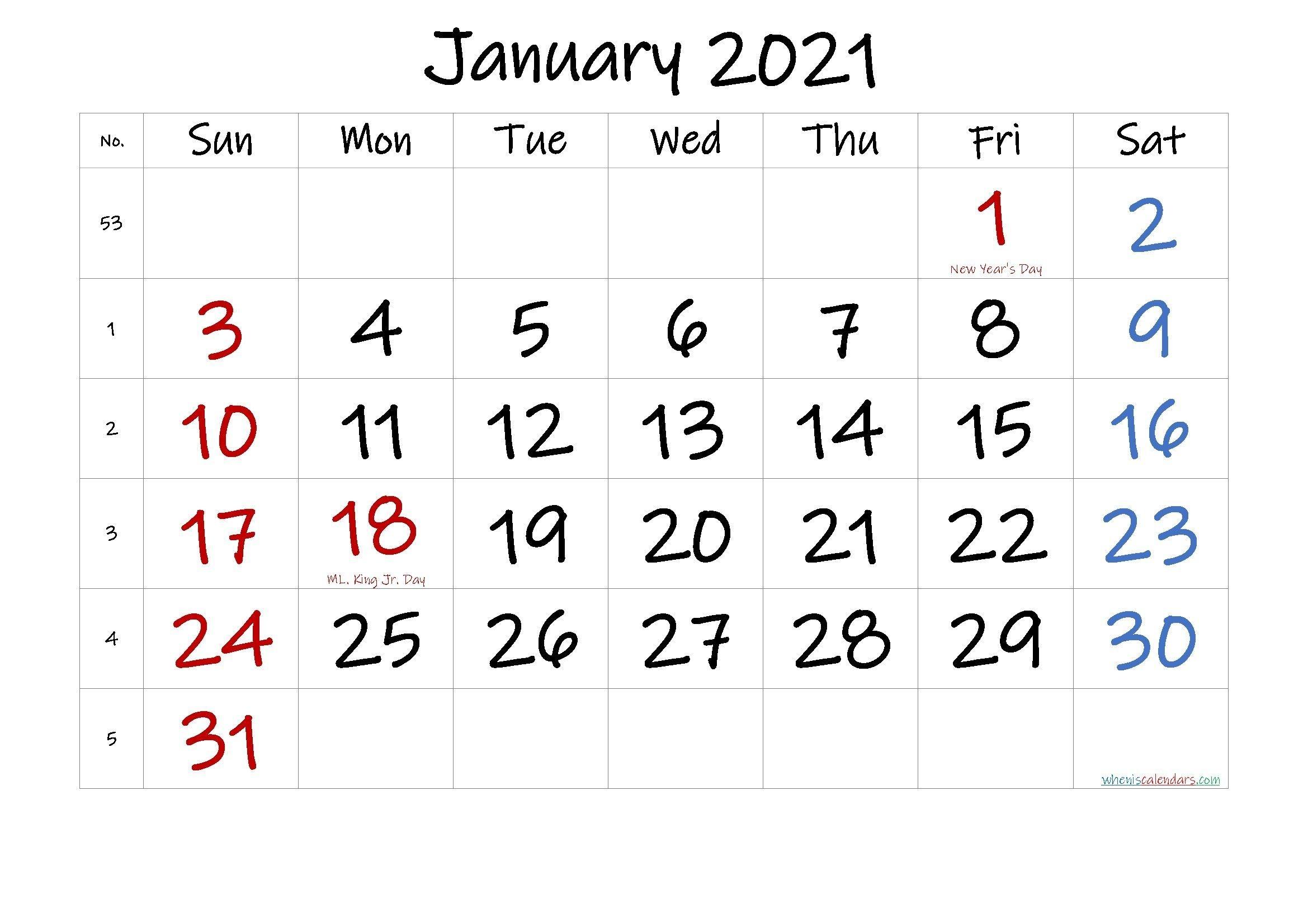 Printable Calendar January 2021 In 2020 | Calendar