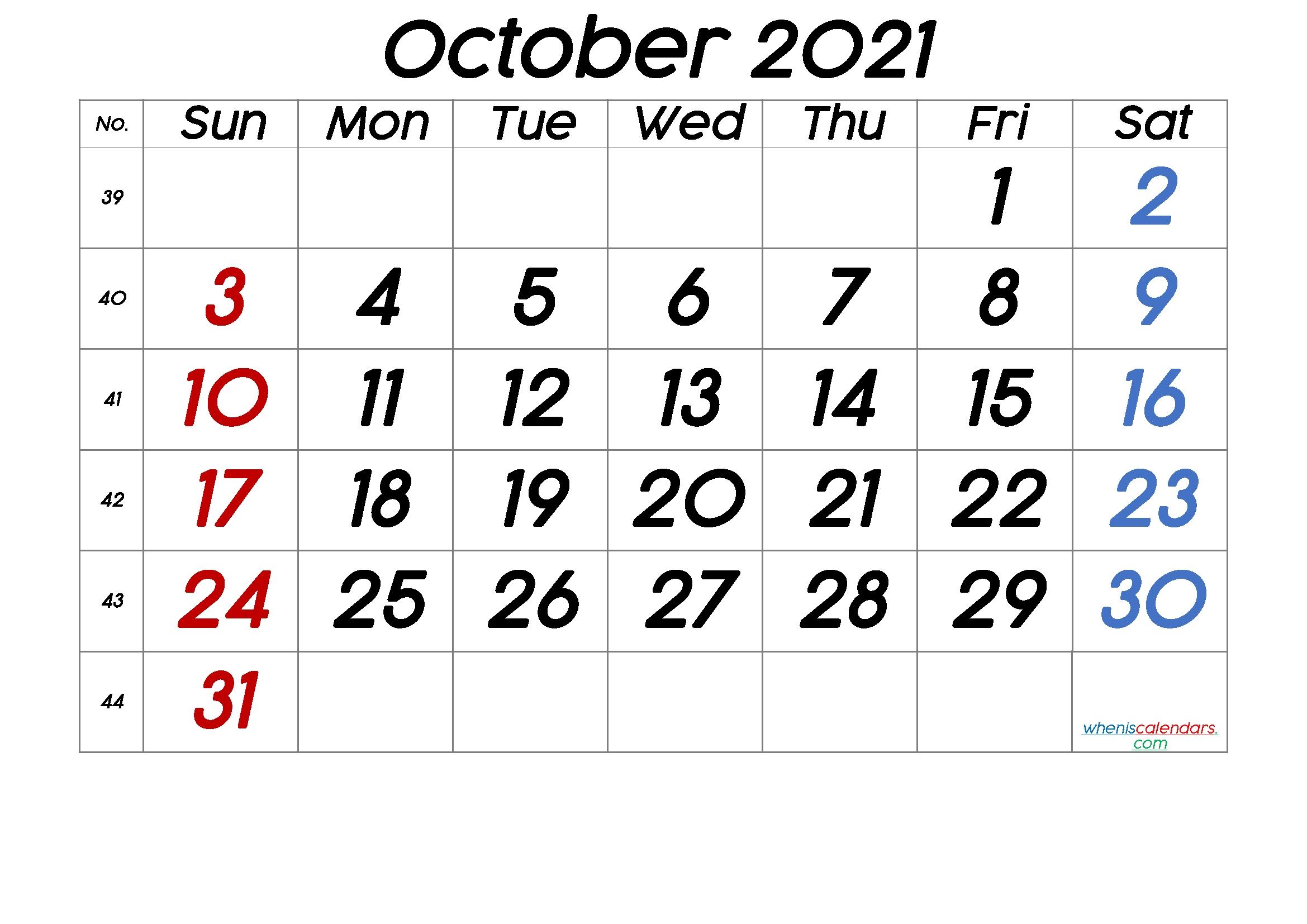Printable Calendar October 2021 [Free Premium] – Free