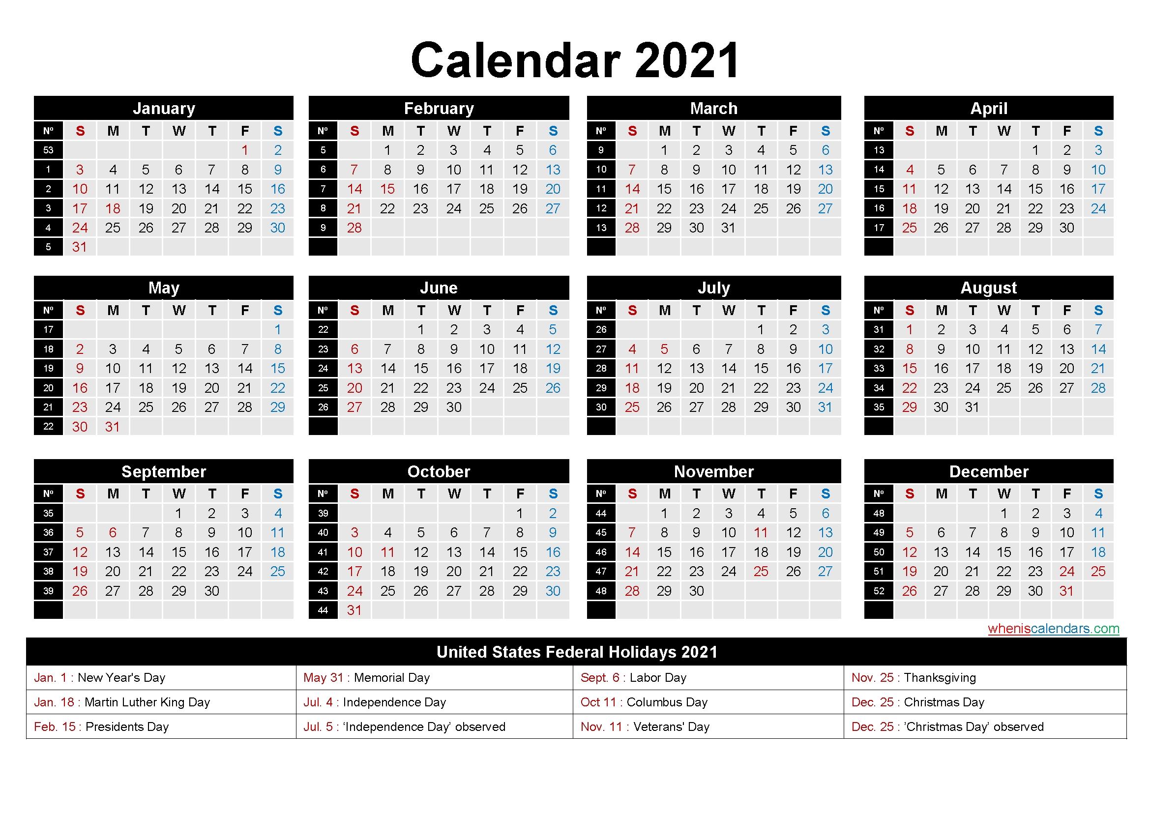 Printable Editable Calendar 2021 Word – Template No.ep21Y7
