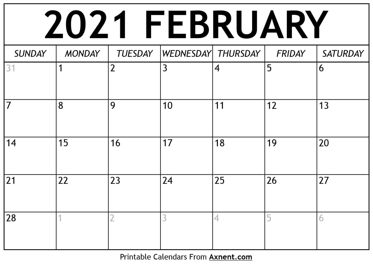 Printable February 2021 Calendar Template - Time Management