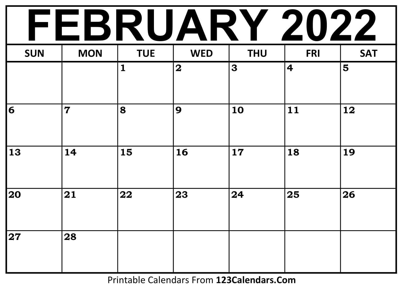 Printable February 2021 Calendar Templates   123Calendars