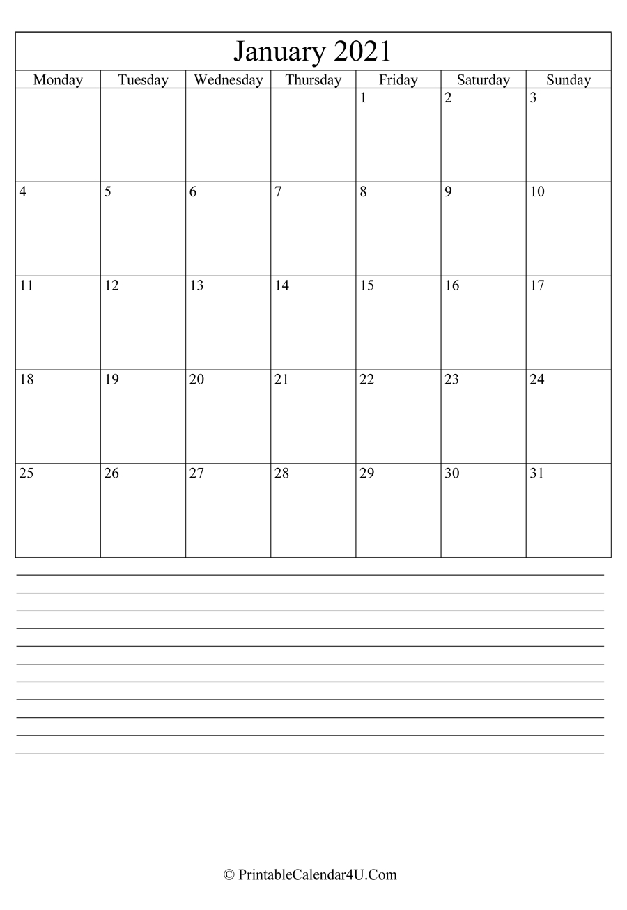Printable January Calendar 2021 With Notes (Portrait)