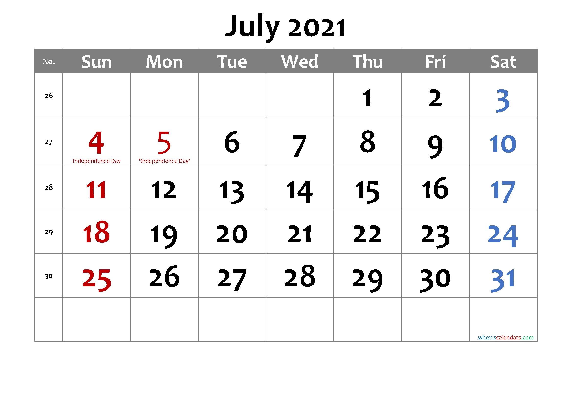 Printable July 2021 Calendar Word-Template No.cd21M7 – Free