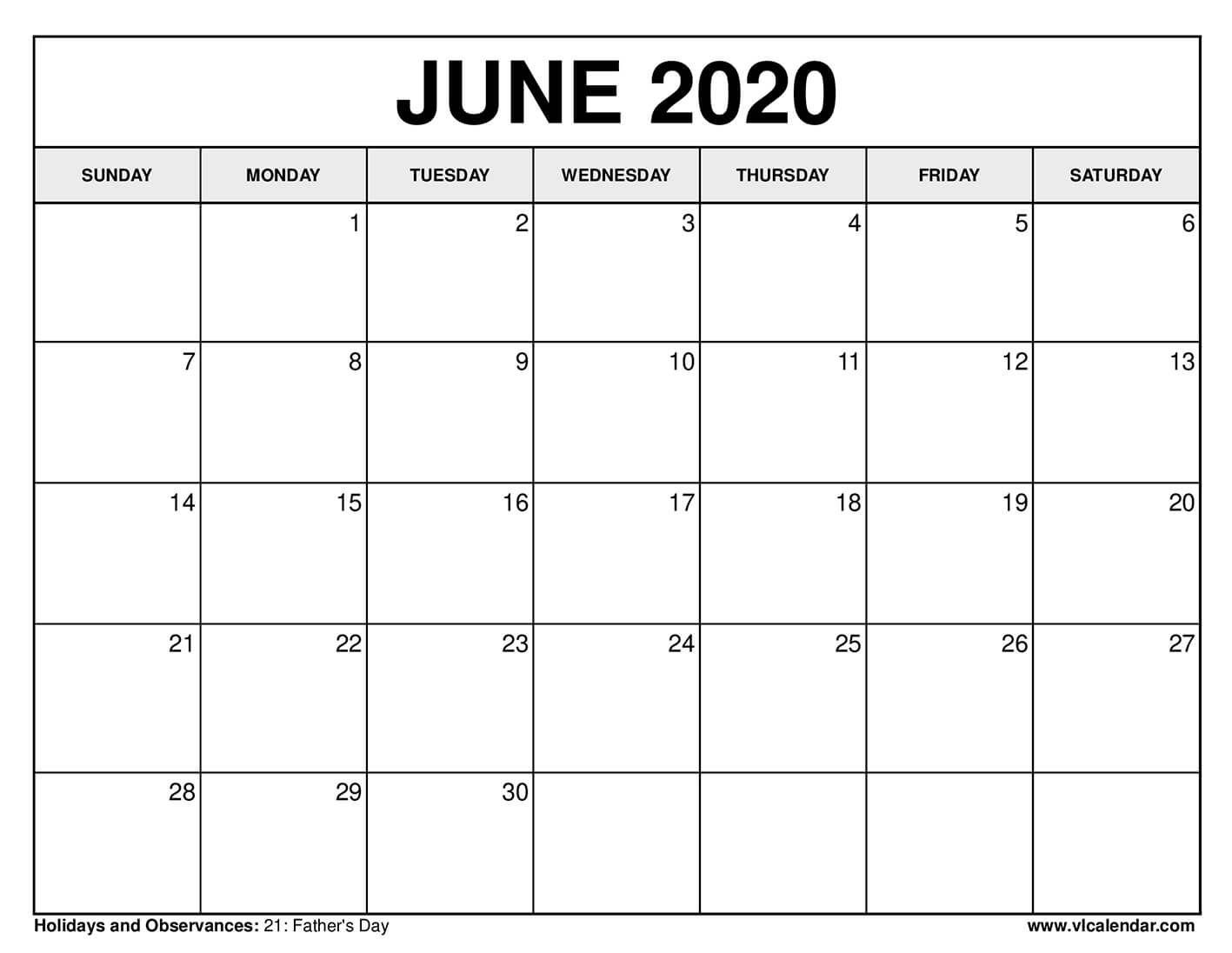 Printable June 2020 Calendars