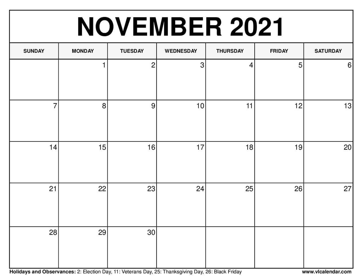 Printable November 2020 Calendars