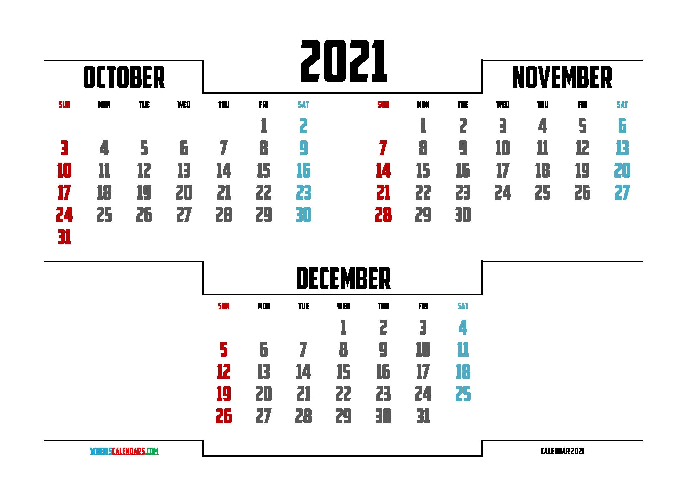 Printable October November December 2021 Calendar | 3 Month