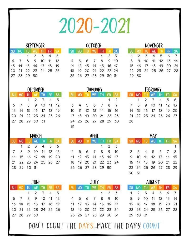 Printable School Year Calendar At A Glance 2020-2021 Wall