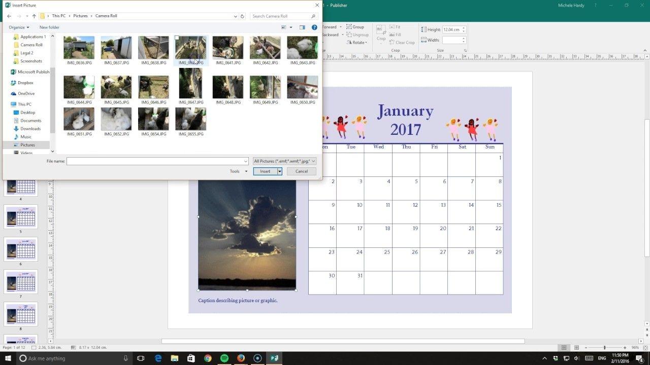 Publisher 2016 Calendar Using Template
