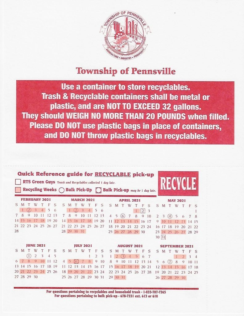 Recycle Schedule 2020-2021 - Township Of Pennsville