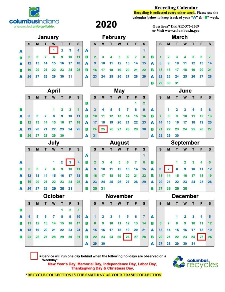 Recycling Calendar – Department Of Public Works