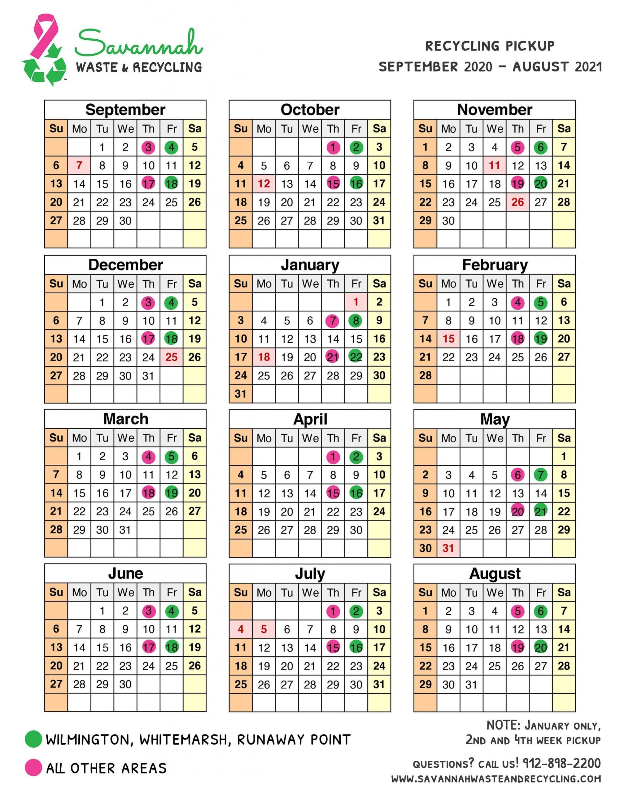 Recycling Calendar | Savannah Waste & Recycling