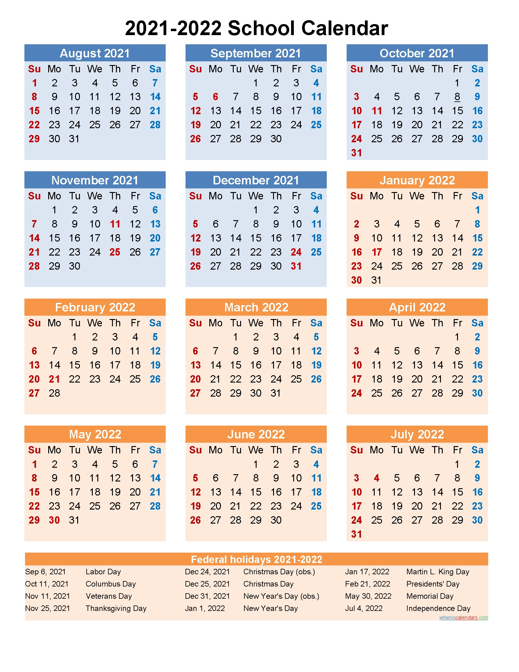 School Calendar 2021 And 2022 Printable (Portrait)- Template
