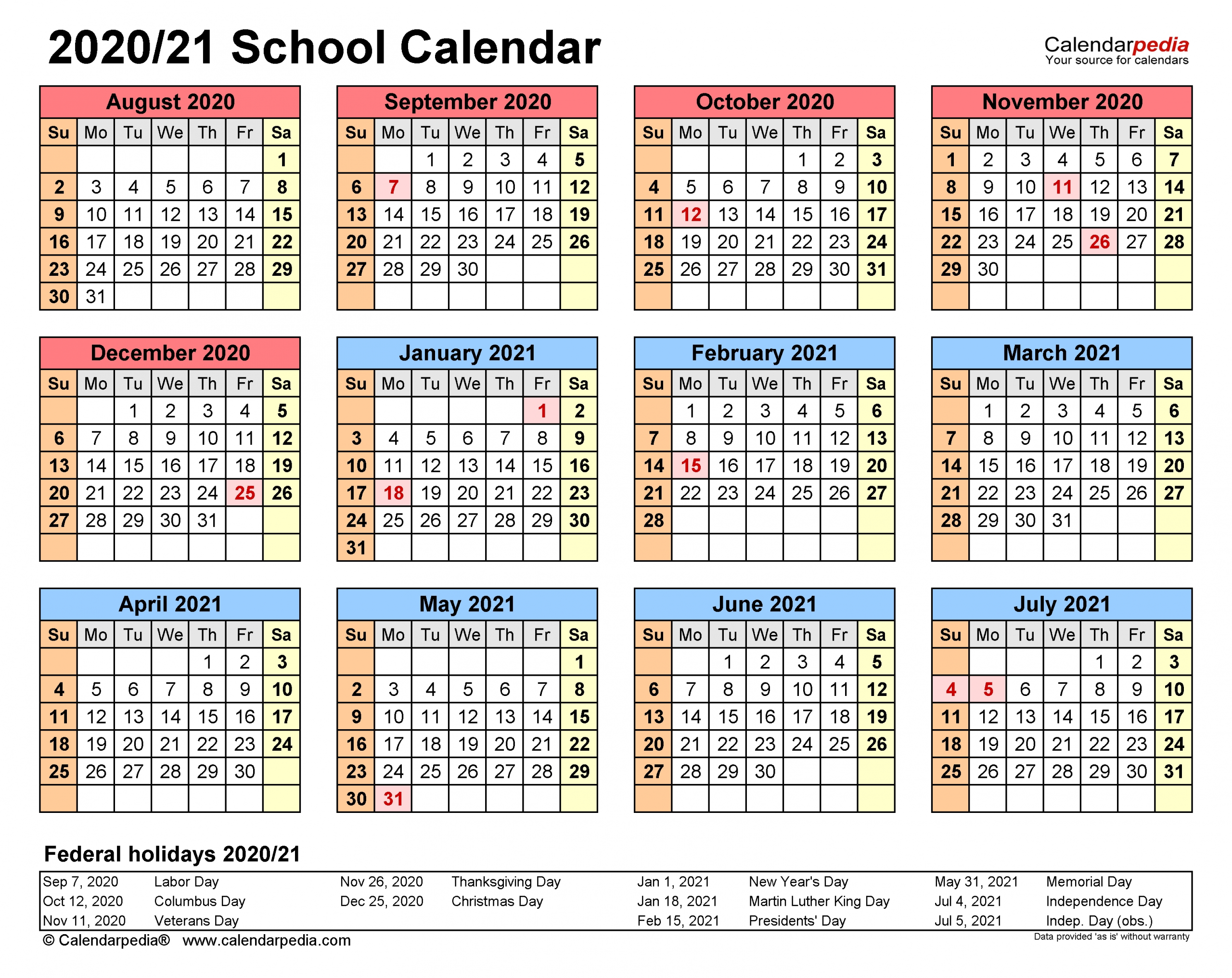 School Calendars 2020/2021 - Free Printable Word Templates