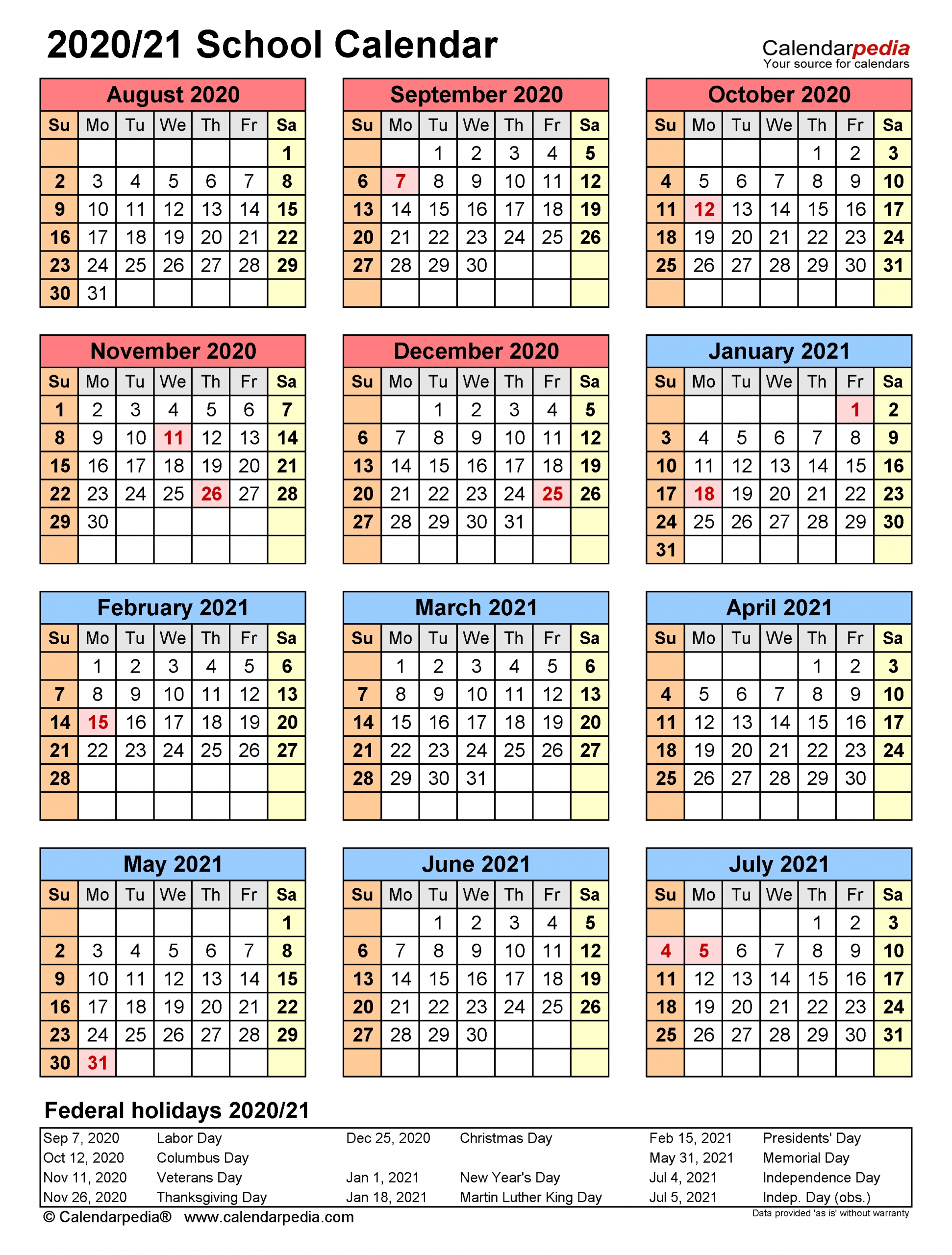School Calendars 2020/2021 - Free Printable Word Templates