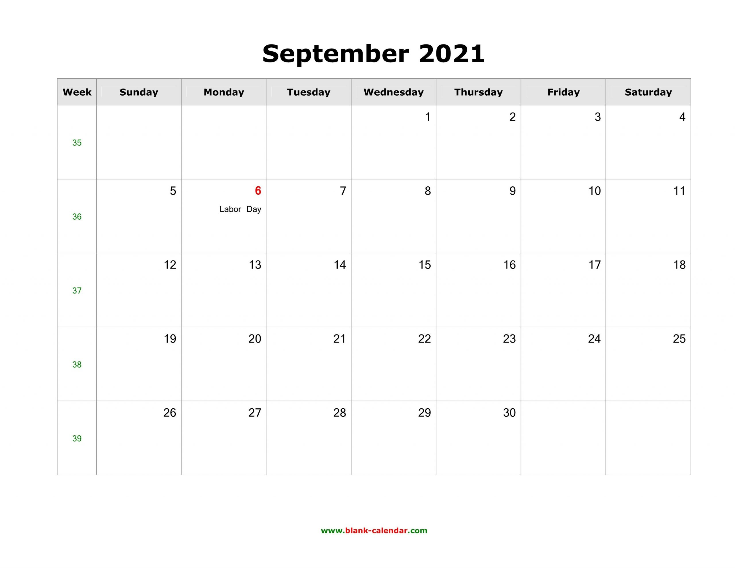 September 2021 Blank Calendar | Free Download Calendar Templates