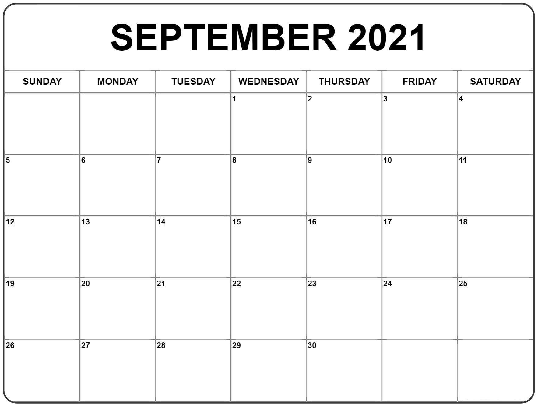 September 2021 Calendar   Calendar Printables, September
