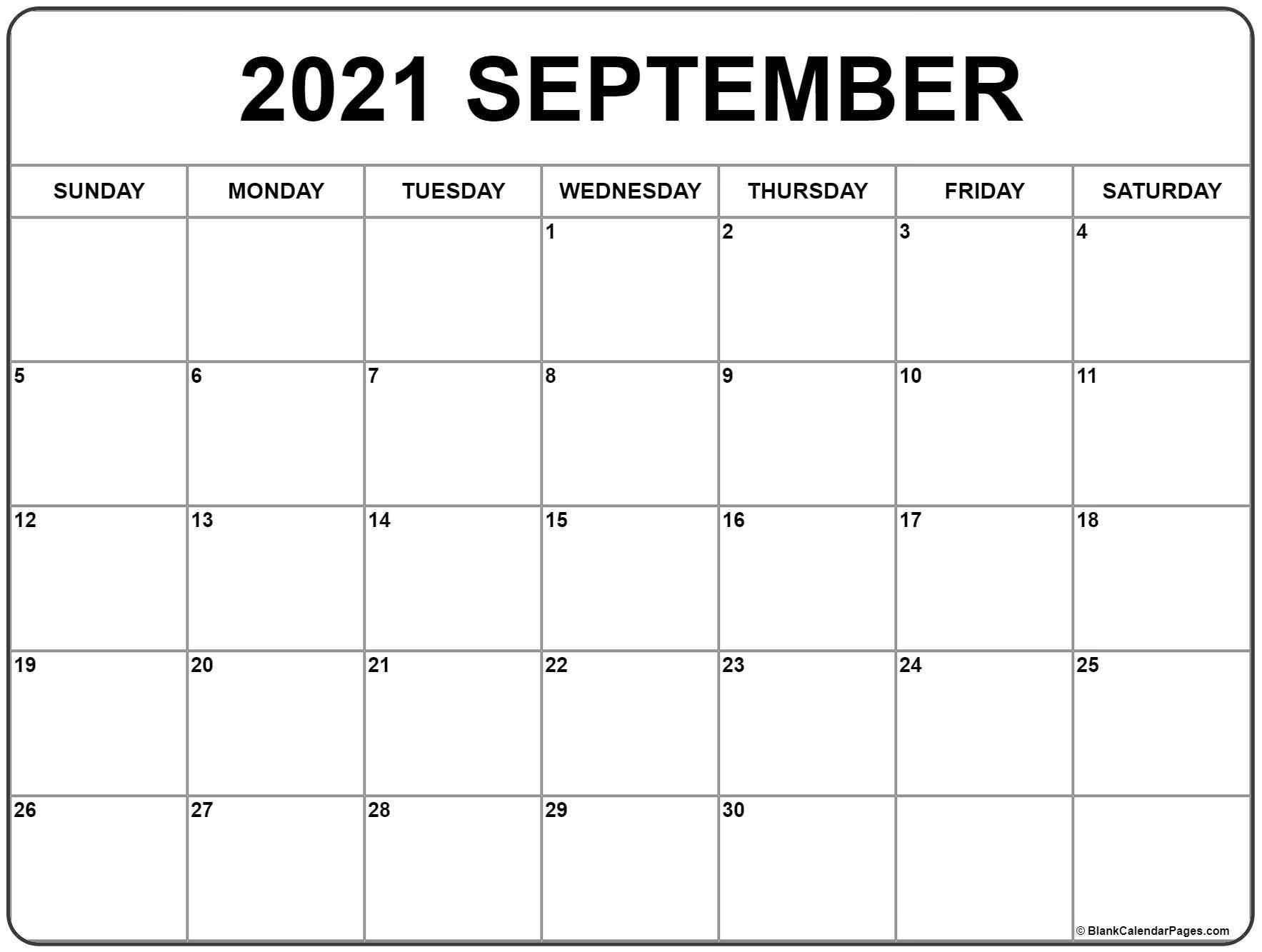 September 2021 Calendar   Free Printable Monthly Calendars