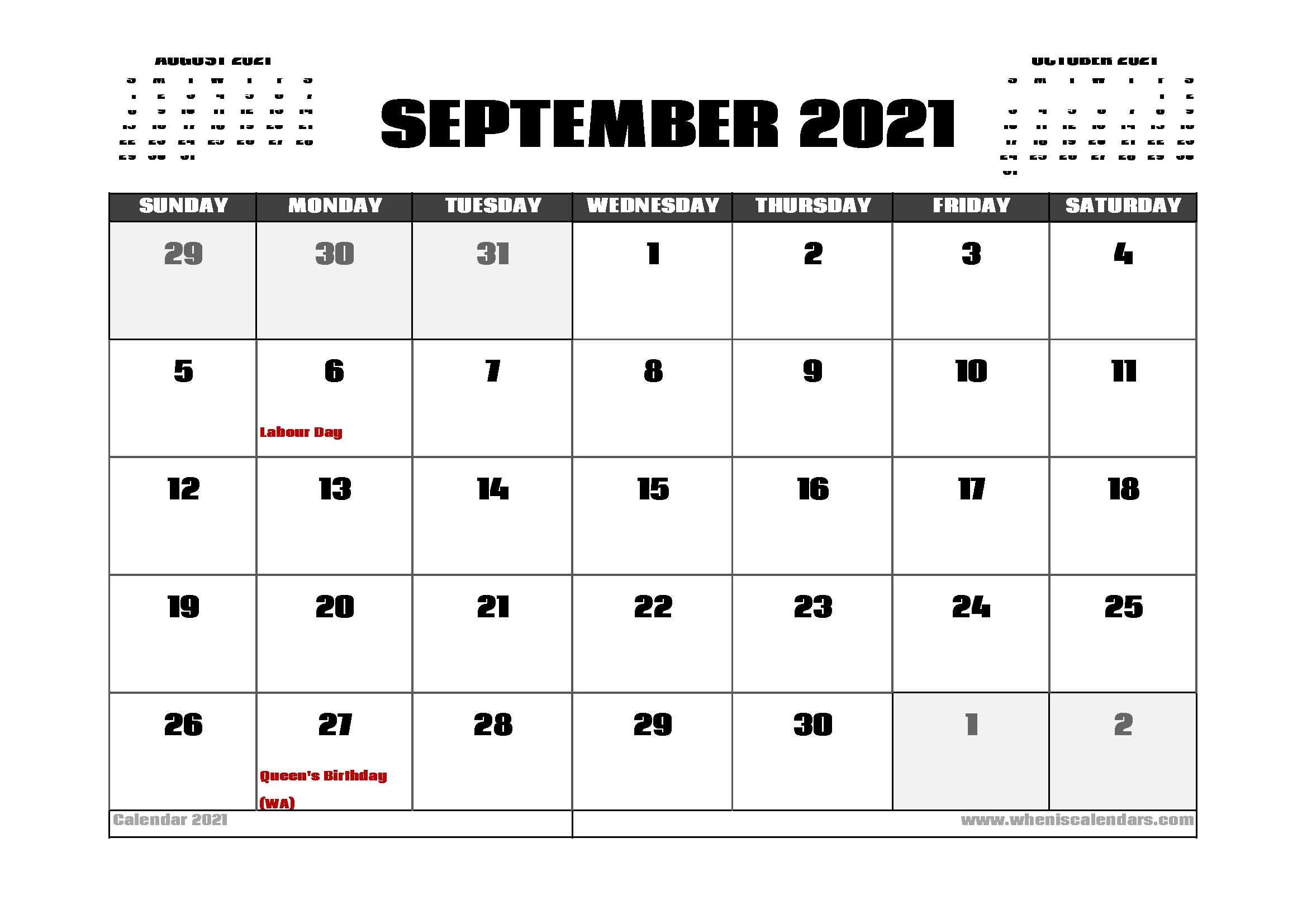 September 2021 Calendar With Holidays - September 2021