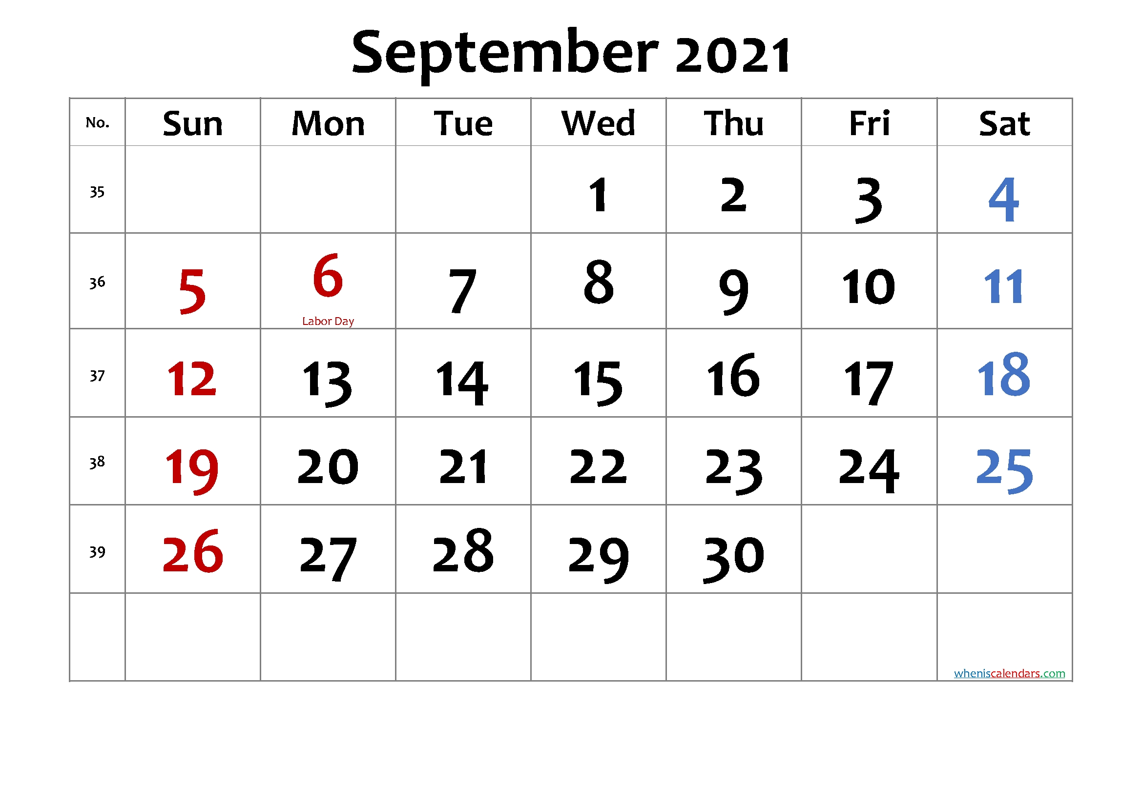 September 2021 Printable Calendar With Holidays – Free 2020