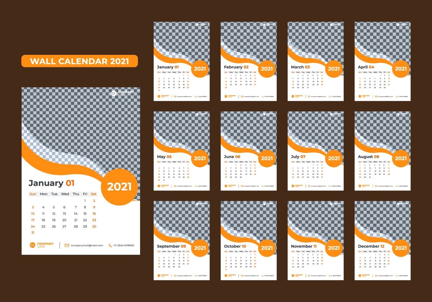 Set Of 12 Month 2021 Wall Calendar Templates - Download Free