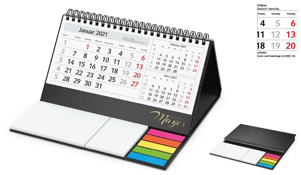 Table Calendar 2021 Delta C | 3-Month Planner With Logo Printed |  Deprismedia