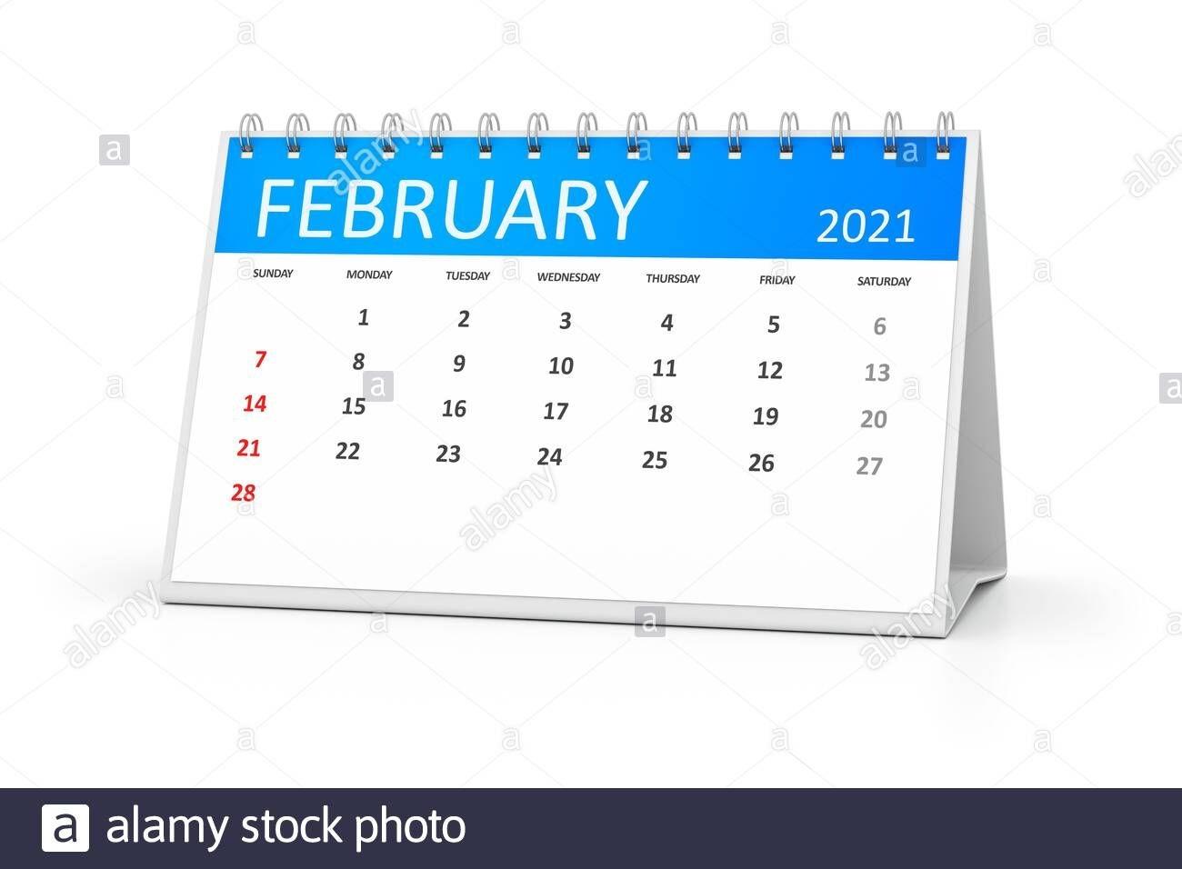 Table Calendar 2021 February Stock Photo - Alamy
