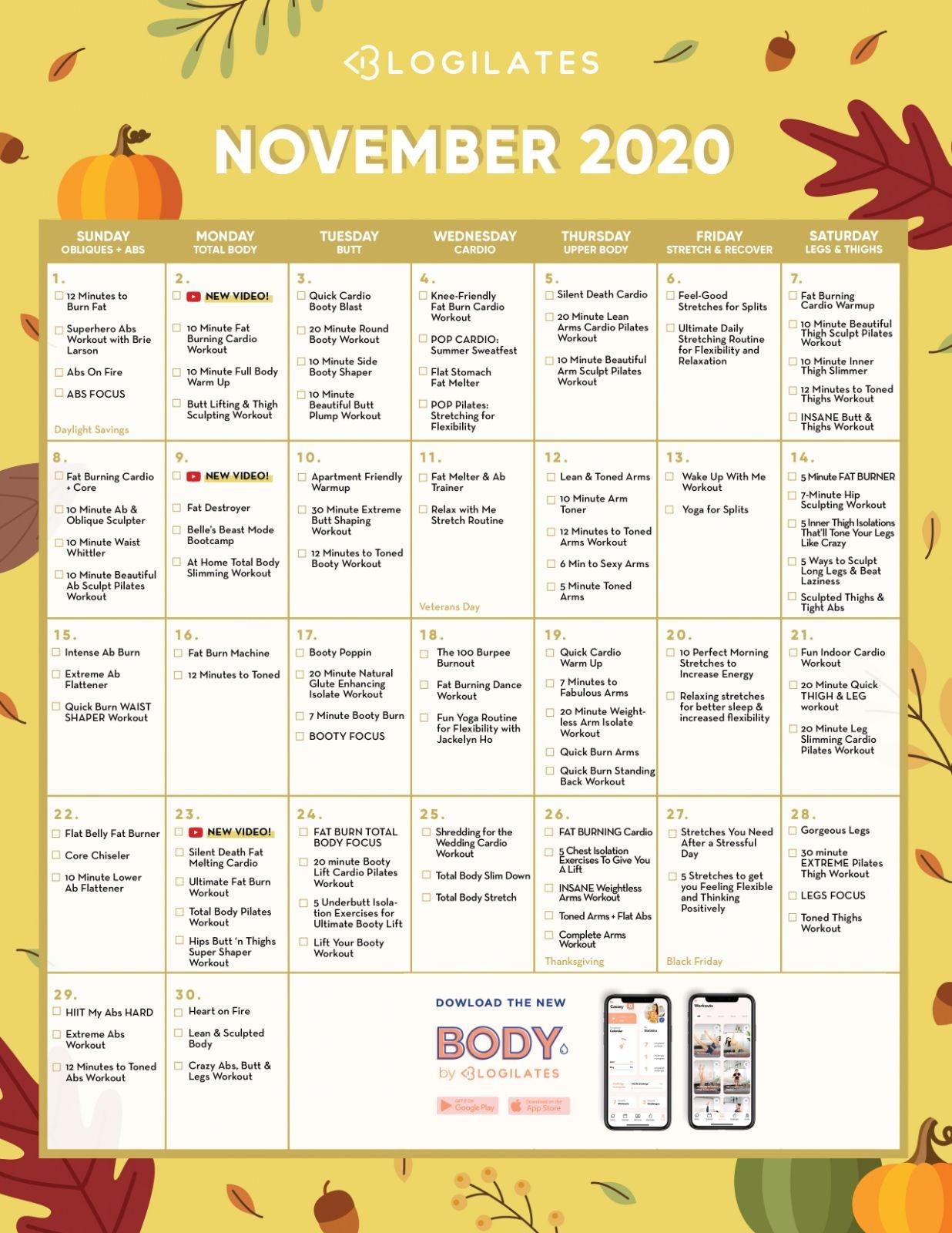 The Blogilates November 2020 Workout Calendar! – Blogilates