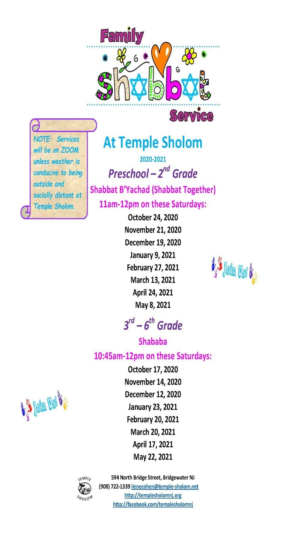 Upcoming Event Flyers — Temple Sholom