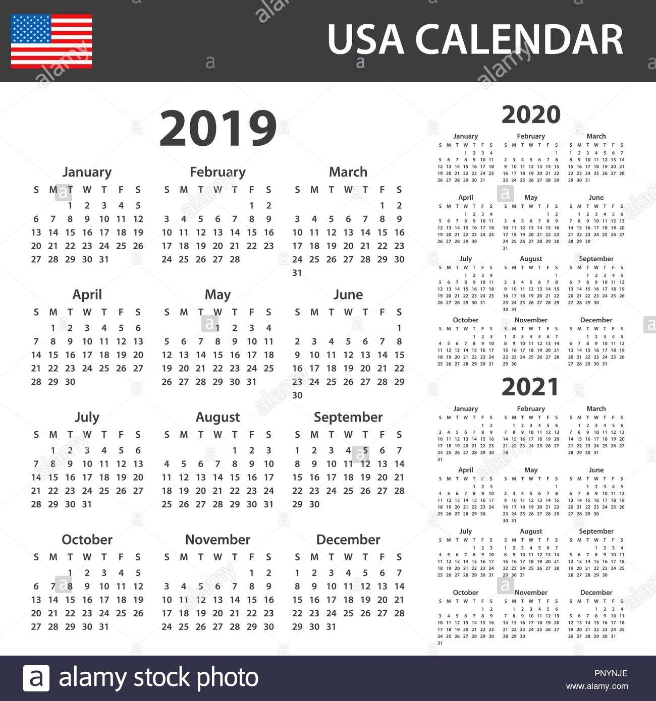 Usa Calendar For 2019, 2020 And 2021. Scheduler, Agenda Or