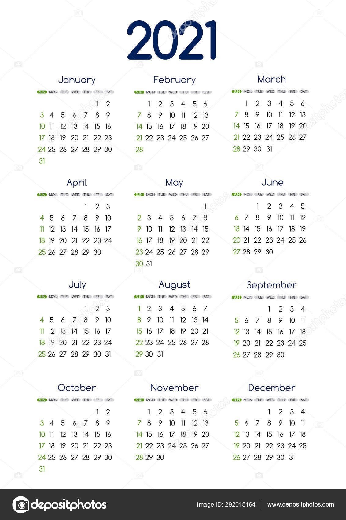 Vector 2021 New Year Calendar Planner Template In Minimal Table Simple  Style Blue And Green Color,Holiday Event Adenda,Week Starts Sunday.12 Month