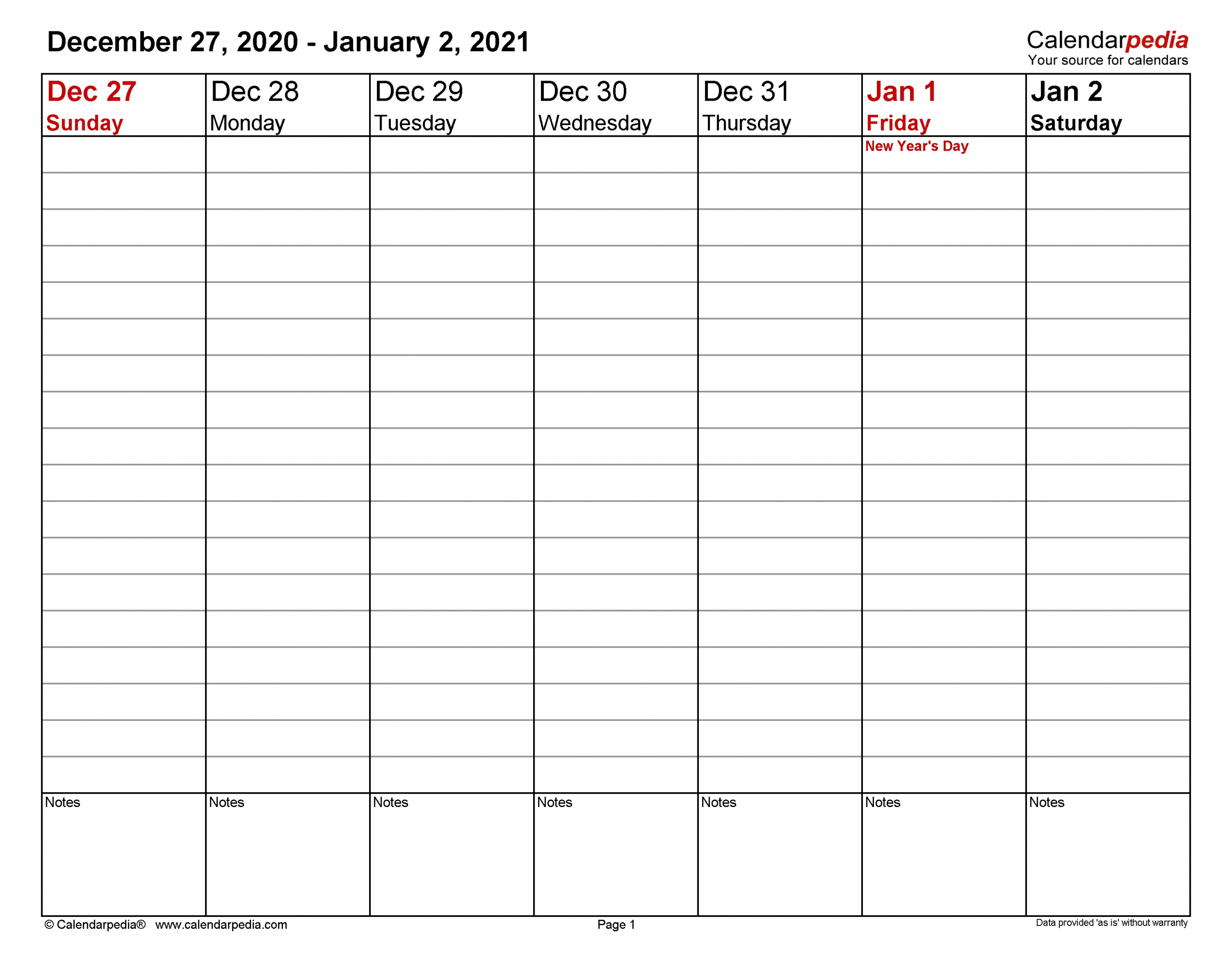Weekly Calendars 2021 For Word - 12 Free Printable Templates
