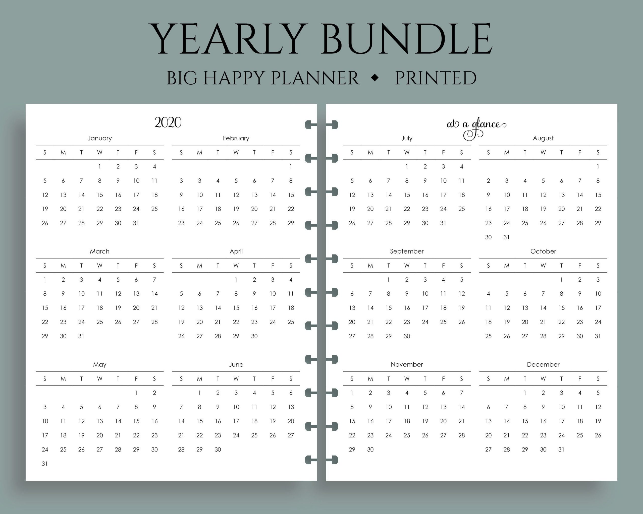 """Yearly Calendar Bundle, 2020 And 2021, Year-At-A-Glance, Dates To Remember,  U.s. Holidays ~ Big Happy Planner / 8.5"""" X 11"""""""