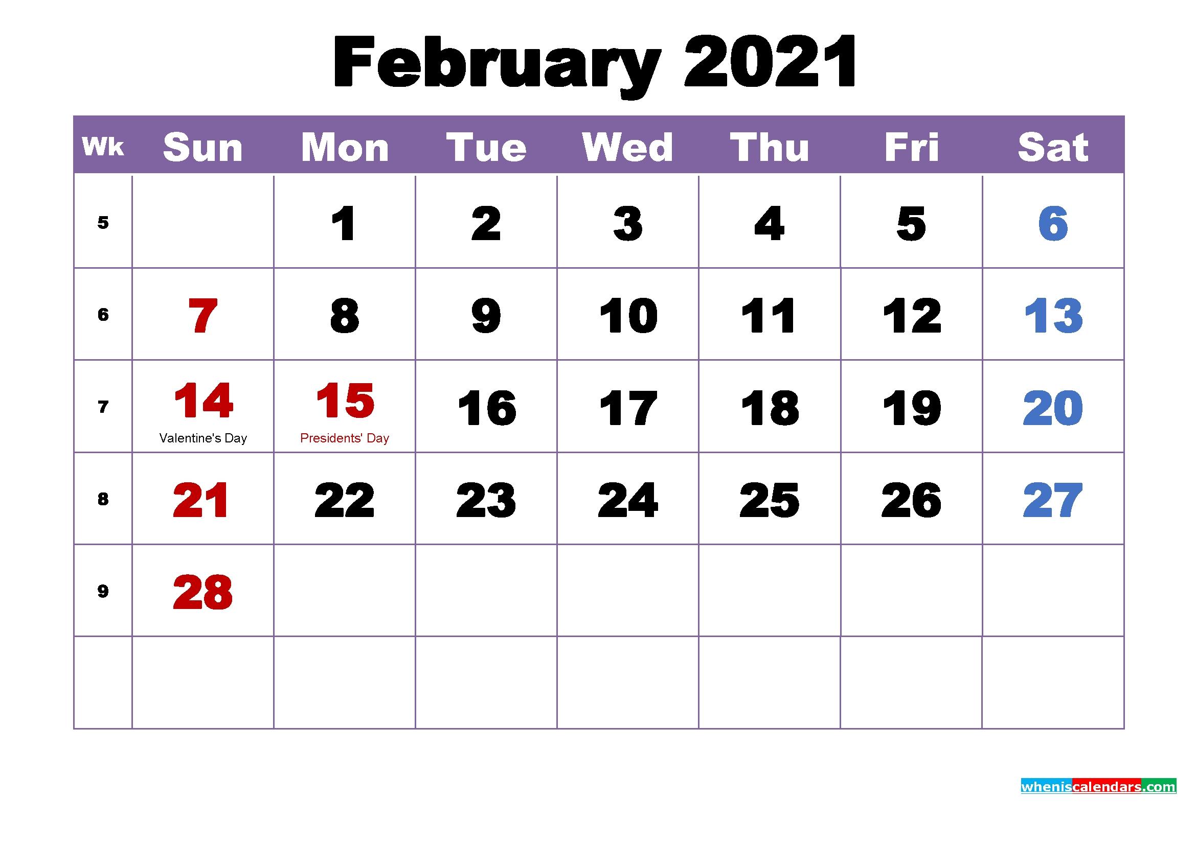 12 Month Printable Calendar February 2021 | 2021 Calendar