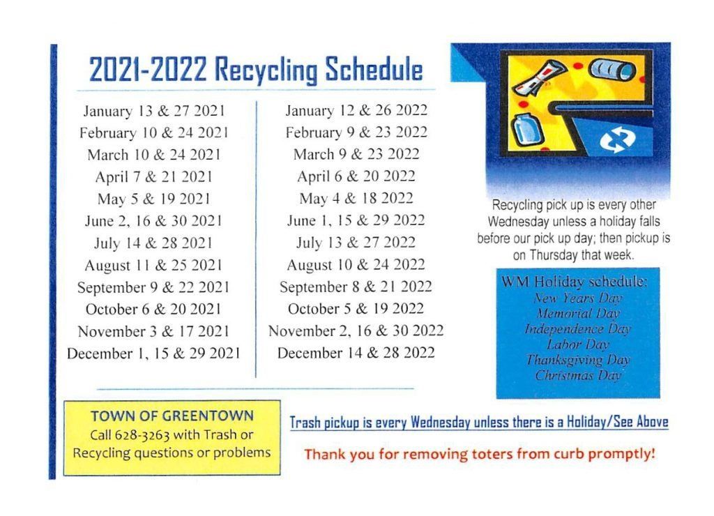 2021-2022 Recycling Schedule - Town Of Greentown