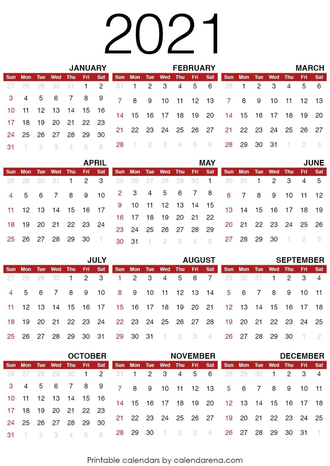 2021 Calendar : Blank Calendar Printable - Calendarena