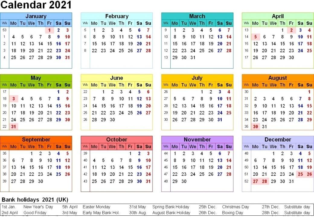 2021 Calendar Printable Uk