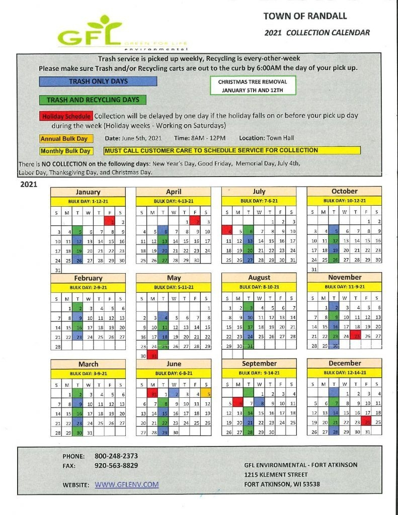 2021 Garbage And Recycling Calendar - Town Of Randall