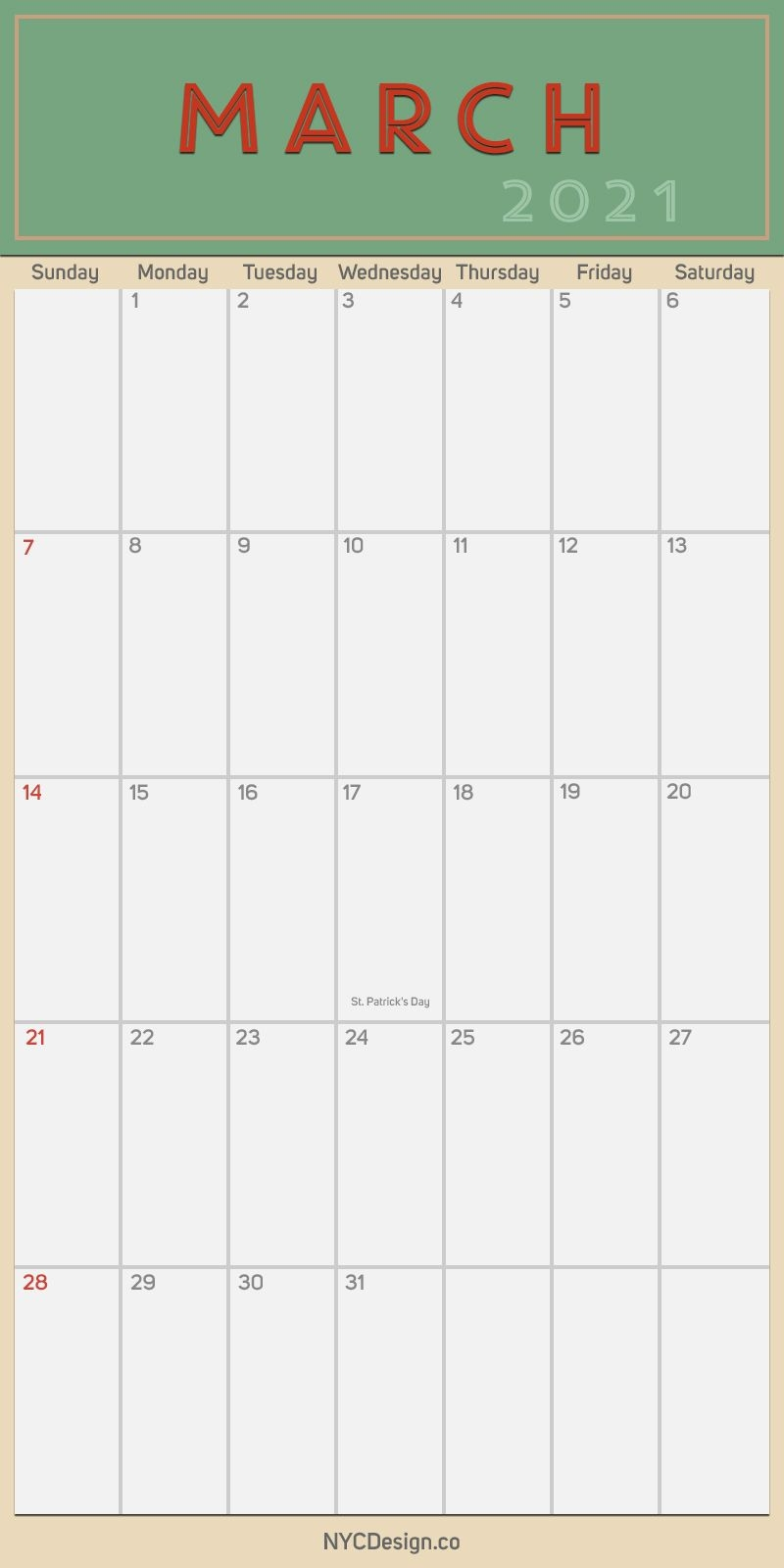 2021 March - Monthly Calendar With Holidays, Printable